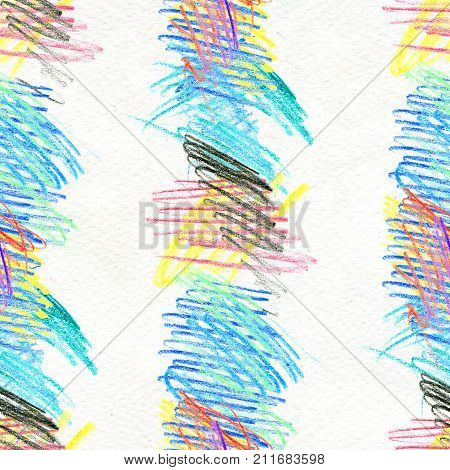 Abstract seamless scribble background. Fantasy modern colorful pattern. Vibrant art chaos backdrop. poster