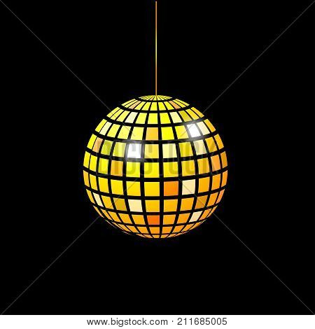 Golden shining orb. Gold sphere. Element night club. Stock vector