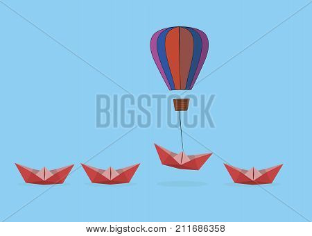 a paper boat lifts a balloon. Advantages for business and the concept of success. Uniqueness, leadership, independence, initiative, strategy, dissent, different thoughts. Vector illustration