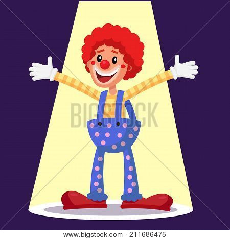 Funny Clown Vector. Decorative Icon. Trick Costume. Circus Show. Cartoon Character Illustration