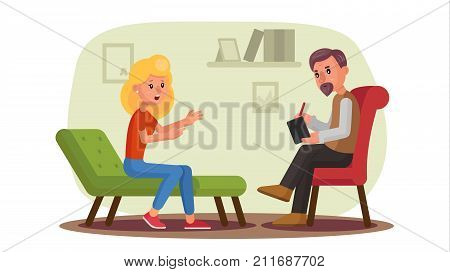 Classic Psychologist Vector. Classic Psychotherapist And Woman Patient. Psychotherapy Counseling Concept. Consultation Of Psychotherapist. Psychology Cabinet With Sofa. Flat Cartoon