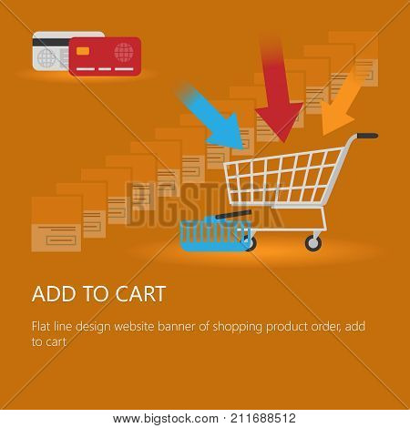 Shopping cart vector illustration with bank cards orange background