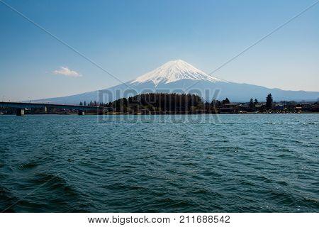 Mt. Fuji (Fujisan) behind the lake Volcano in Japan
