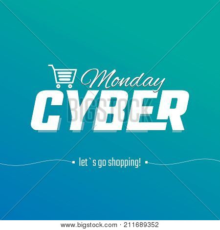 Design cyber Monday, the inscription on which the cart on a snowy background, vector graphics for the site