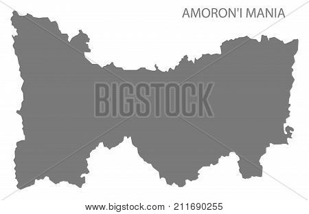 Amoroni Mania Region Map Of Madagascar Grey Illustration Silhouette Shape