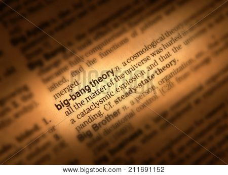 CLECKHEATON, WEST YORKSHIRE, UK: CLOSE UP OF DICTIONARY PAGE SHOWING DEFINITION OF THE WORDS BIG BANG THEORY 3RD AUGUST 2004 CLECKHEATON, WEST YORKSHIRE, UK