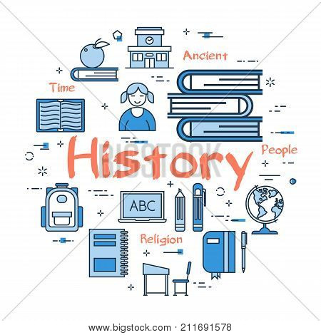 Vector linear blue round concept of History Subject. School lesson for children and education line icons of encyclopedia and dictionaries, computer and classroom