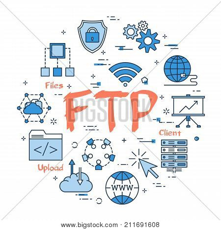 Vector linear blue round concept of File Transfer Protocol. Red sign FTP and internet thin line icons, secure connection, transfer files and server data center