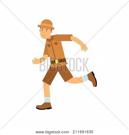 Happy cartoon young archaeologist character running. Treasure hunter in brown safari suit and hat. Search of ancient artifacts. Excavations and archaeology. Flat vector illustration isolated on white.
