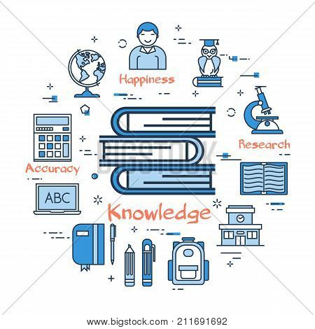 Vector linear blue round concept of knowledge and school education. Three books in the center. Line icons of study supplies, children, computer and building