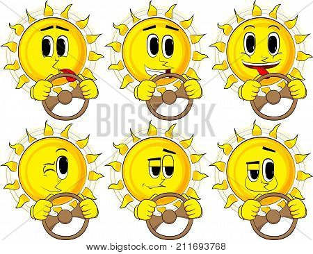 Cartoon sun driving holding a steering wheel. Collection with happy faces. Expressions vector set.