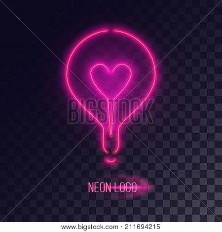 Pink neon lightbulb logo with heart shape inside. Realistic cyberpunk futuristic design element.