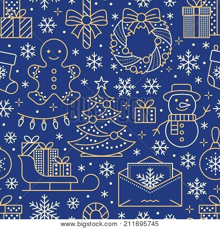 Christmas, new year seamless pattern, line illustration. Vector icons winter holidays christmas tree, gifts, letter to santa, presents, snowman. Celebration party blue white gold repeated background.