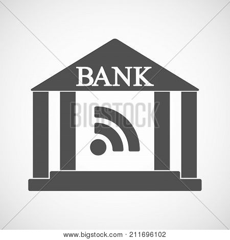 Isolated Bank Icon With An Rss Sign