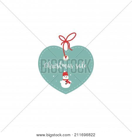 Retail Sale Tags and Clearance Tags. Festive christmas design with snowflakes and snowman