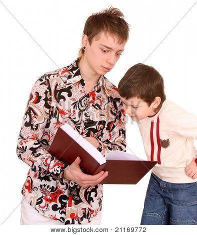 Two fun brother read book. Isolated.
