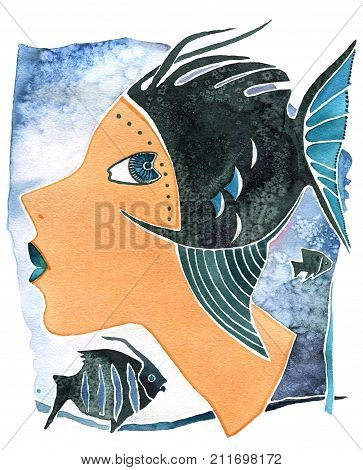 Face of girl  as astrology symbol Pisces on a pattern background