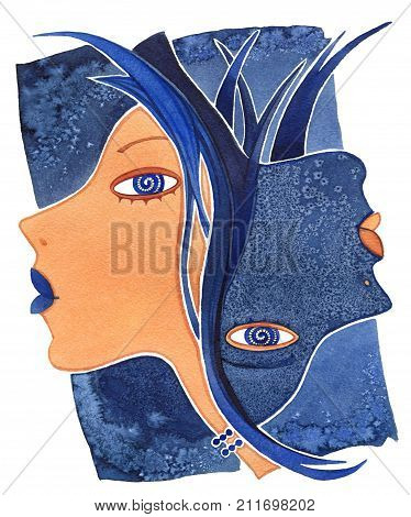 Face of girl as astrology symbol Gemini on a pattern background