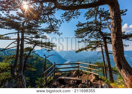 Viewpoint Banjska stena rock at Tara mountain looking down to Canyon of Drina river, Serbia