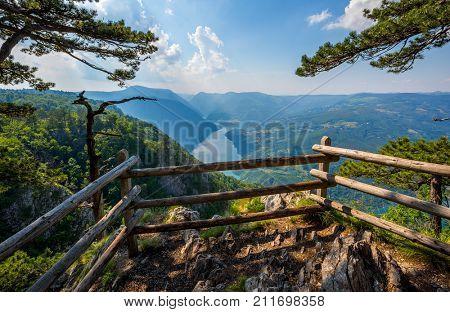 Viewpoint Banjska stena rock at Tara mountain looking down to Canyon of Drina river, Serbia