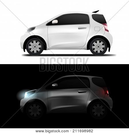 White Realistic Midget Mini Car. Eps10 Vector