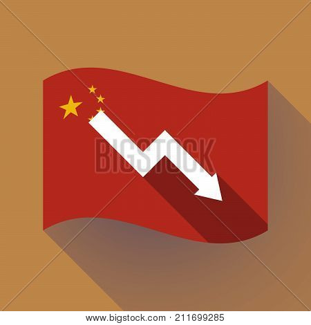 Long Shadow China Flag With A Descending Graph
