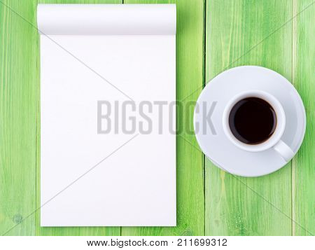 Notepad Open With White Blank Page For Writing Idea Or To-do List