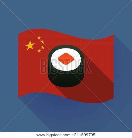 Long Shadow China Flag With A Piece Of Sushi Maki