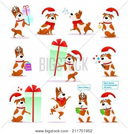 Christmas funny cartoon dog emoticons set. Xmas flat puppy emoji collection. Happy terrier wearing deer horns and Santa hat isolated on white background. Christmas or New Year 2018 vector illustration