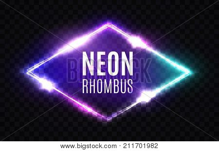 Night Club Neon Rhomb. 3d Retro Light Lozenge Sign With Neon Effect. Techno Rhombus Background. Glowing Brill Frame On Transparent Backdrop. Electric Street Diamond. Vector Illustration in 80s Style.
