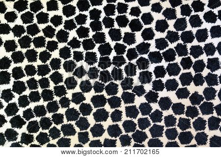 High Resolution Picture Of Gray And White Mozaic Soft Carpet Texture.