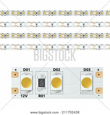 Realistic 12V Led Light Strip. EPS10 Vector
