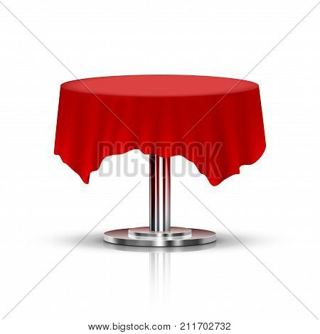 Realistic Black One Leg Round Table With Red Tablecloth. EPS10 Vector