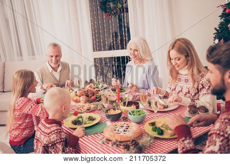Six Cheerful Gathered Relatives, Setted Festive Desktop, Full Of Yummy Treats, Parents, Siblings, Gr