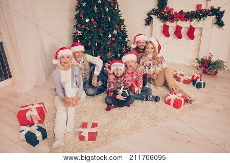 Six Cheerful Relatives Bonding Hug Embrace On Carpet, Married Couples, Excited Siblings, Grandad, Gr