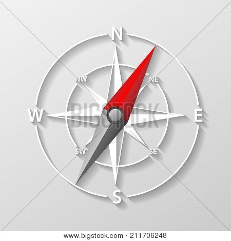 Compass arrow object isolated. 3d Navigation and direction icon. Direction and navigation compass sign for adventure. Vector illustration EPS 10