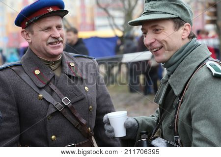 Belarus, Gomel, November 21, 2016, Reconstruction Of The Battle Of The Second World War.russian And