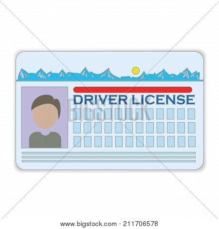 colorful illustration with driver license card on a white background