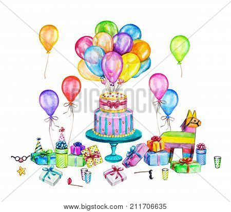 Watercolor Happy Birthday party illustration. Hand drawn celebration objects: gift boxes air balloons Birthday cake pinata