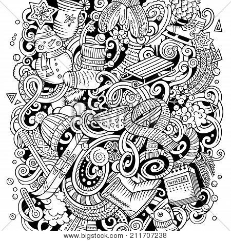 Cartoon vector doodles Winter illustration. Line art, detailed, with lots of objects background. All objects separate. Contour drawing cold season funny picture