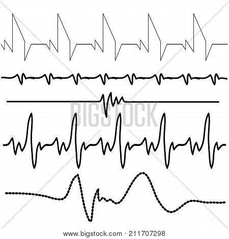 illustration with electrocardiogram set on white background