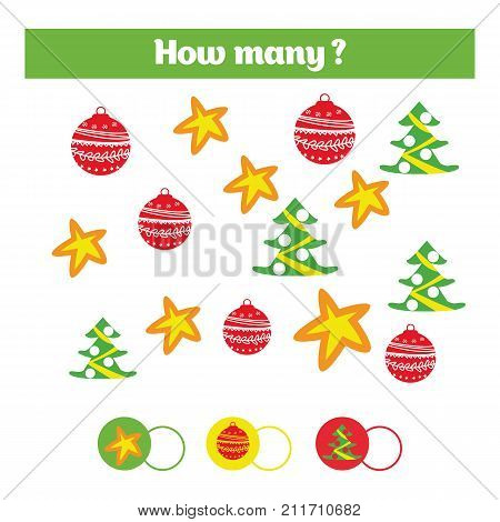 Counting educational children game kids activity sheet. How many objects task. Learning numbers mathematics addition theme