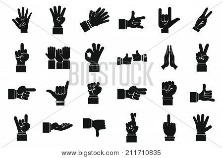 Hand sign icon set. Simple set of hand sign vector icons for web design isolated on white background