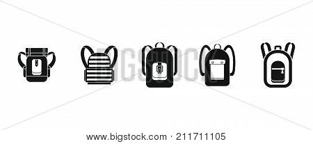 Backpack icon set. Simple set of backpack vector icons for web design isolated on white background