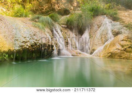 Polimnio waterfalls in Greece. A touristic destination.