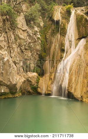 Big waterfall Kadi in Polilimnio in Greece.