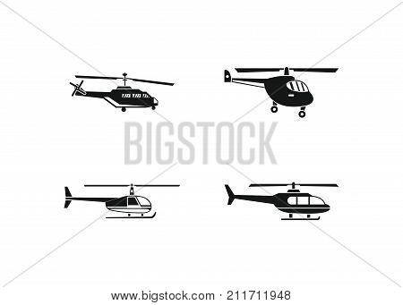 Helicopter icon set. Simple set of helicopter vector icons for web design isolated on white background