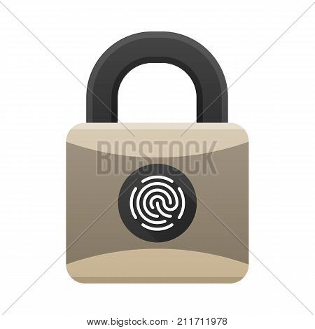 Padlock icon with biometric protection with fingerprint access. Padlock with fingerprint reader isolated on white background. Easy editable vector illustration