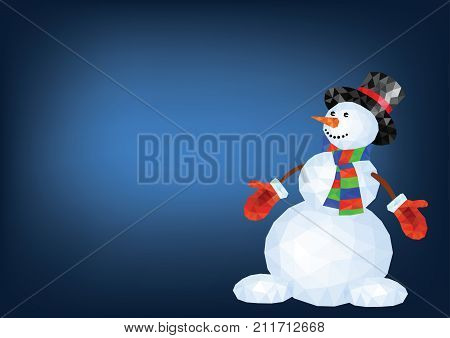Polygonal snowman in red mittens and striped scarf on blue background - vector