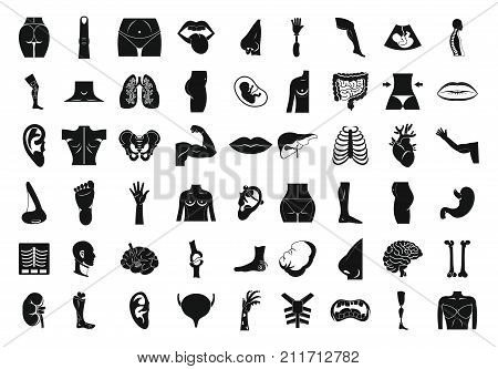 Human body icon set. Simple set of human body vector icons for web design isolated on white background